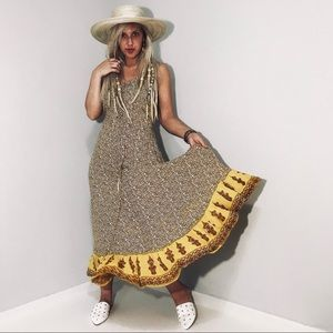 Vintage Yellow Boho Sun Dress